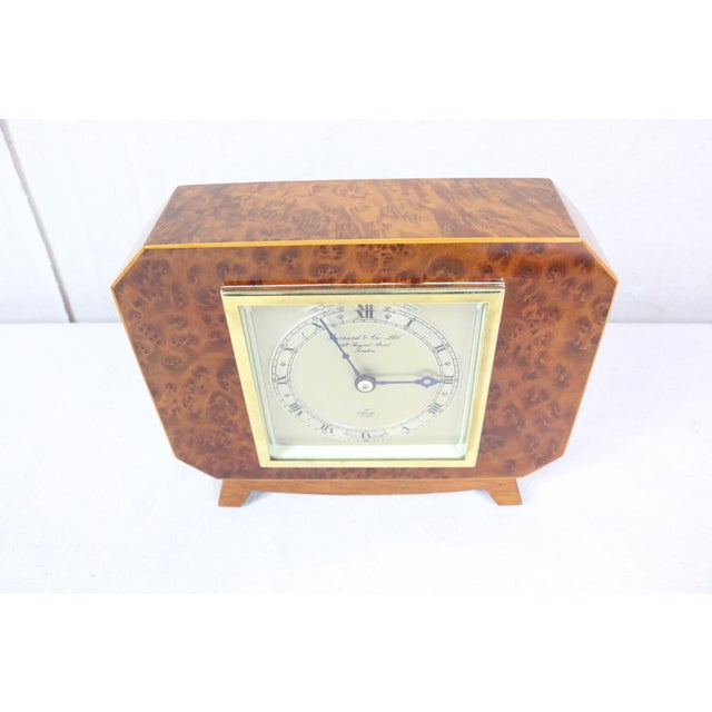 Art Deco English Deco Burl Walnut Clock For Sale - Image 3 of 7