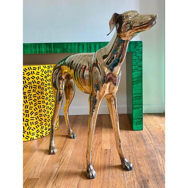 Hollywood Regency Life Size Vintage Brass Whippet Dog Statue For Sale - Image 3 of 9