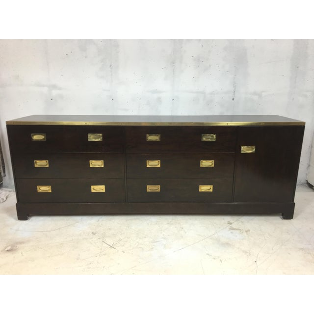 Baker Attributed Campaign Style Dresser - Image 2 of 6