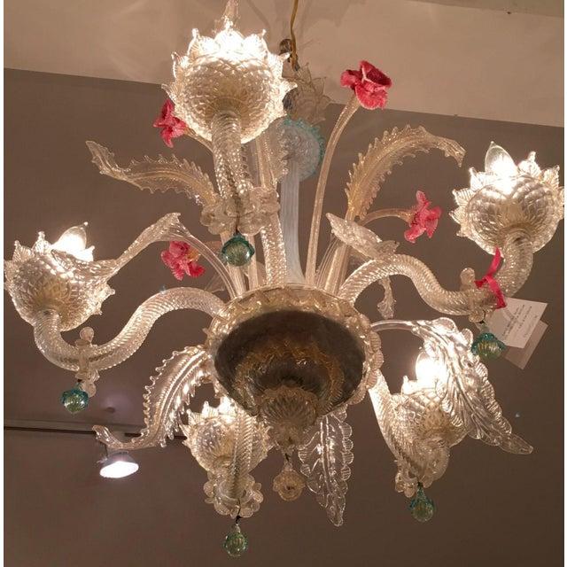 Superb Antique Venetian Glass 5 Lite Chandelier - Image 3 of 4