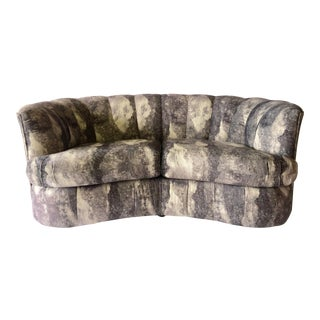 Weiman Storm Velour Upholstered Curved Sofa For Sale