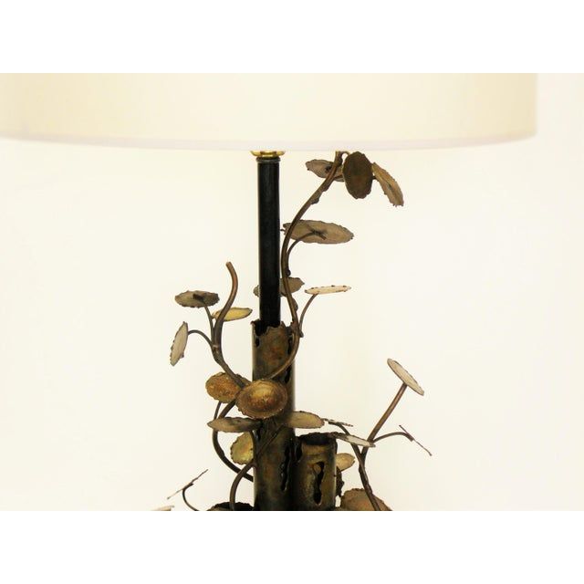 Silas Seandel Brutalist Metal Table Lamp-Curtis C. Jere Raindrops Sculpture Style Mid-Century Modern MCM Millennial - Image 6 of 11