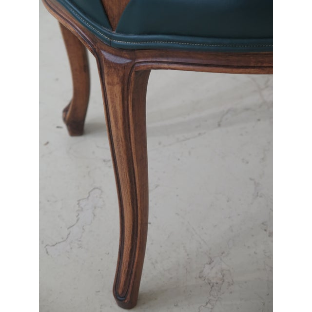 1990s Vintage Green Leather French Style Dining Room Chairs- Set of 6 For Sale - Image 4 of 11