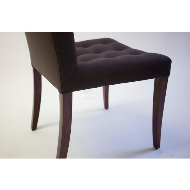 Bisquit Tufted Dining Side Chair With Wood Legs and Balloon Shaped Back For Sale In New York - Image 6 of 8