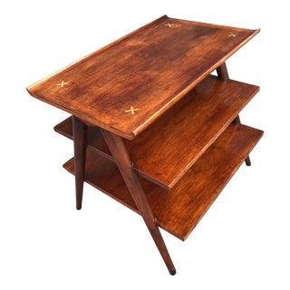 Mid Century American of Martinsville Three-Tier Walnut Inlay Side Table For Sale
