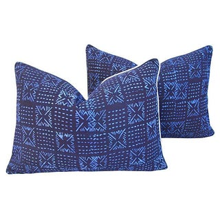 African Tribal Blue Indigo Pillows - A Pair