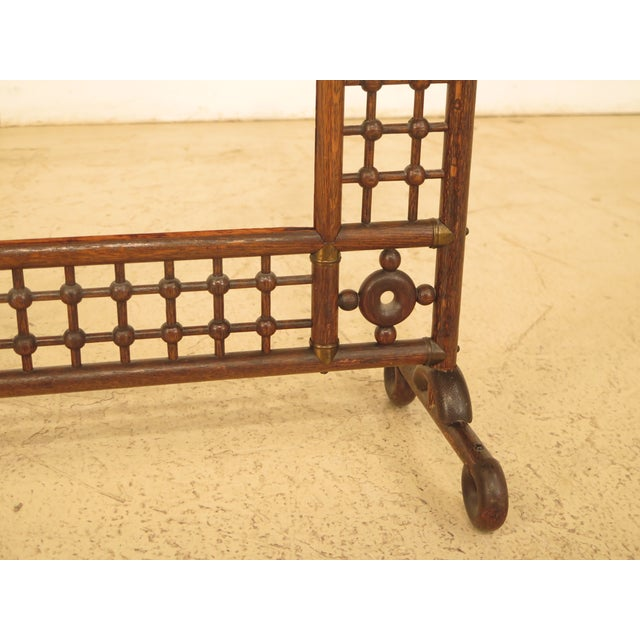 Traditional Antique Victorian Stick & Ball Oak Firescreen Frame For Sale - Image 3 of 8