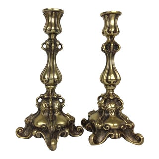 1920s Art Nouveau Bronze Candlesticks - a Pair For Sale