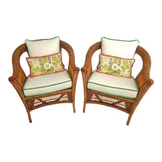 Natural Wicker Armchairs, Pair For Sale