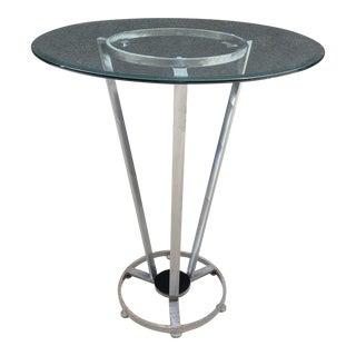 1990s Modernist Italian Steel & Glass Cantoni Pub Table For Sale