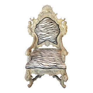 1990s Vintage White Washed Baroque Style Throne Chair For Sale