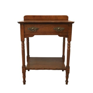 Antique Oak Side Table With Drawer
