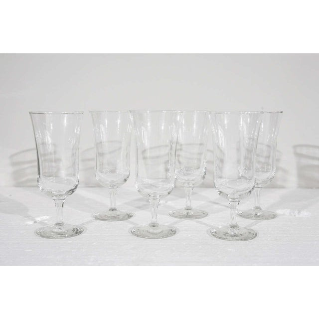 Set of six Holmegaard crystal stemmed cordial glasses. Made in the 1940s in the style of Danish Modern