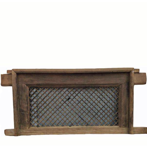Asian 19th Century Antique Chinese Elm Screen Window With Mounting Frame For Sale - Image 3 of 3