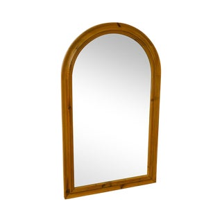 Crate & Barrel Solid Pine Tombstone Wall Mirror For Sale