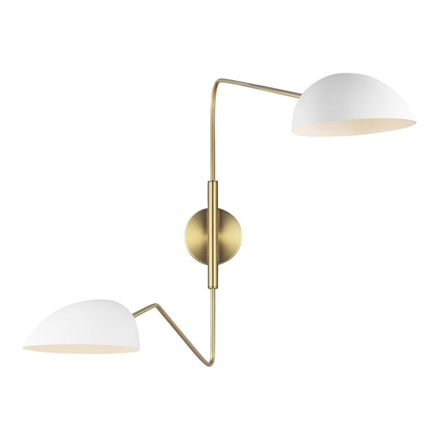 Jane Double Task Sconce Matte White For Sale