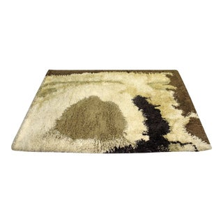 "Mid-Century Danish Modern Ege Rya Wool Shag Rug 'Sunrise Lo' 78"" X 58"" For Sale"