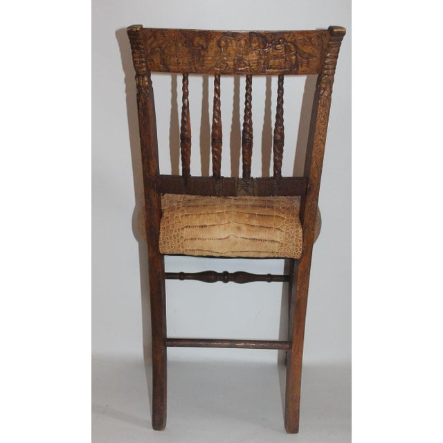 Brown 19th Century Handmade English Chess Carved Chair For Sale - Image 8 of 10