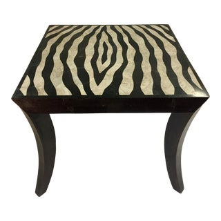 Boho Chic Stone Klismos Leg Zebra Side Table For Sale