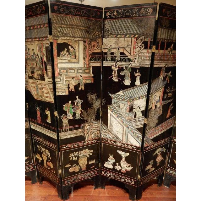19th Century 19th Century Coromandel Black 8 Panel Screen For Sale - Image 5 of 9