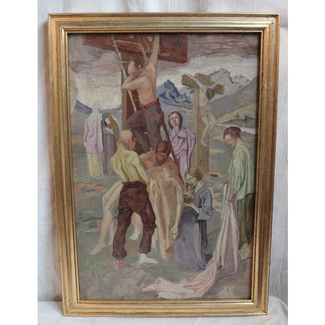 Vintage Oil Painting, Descent From the Cross - Image 2 of 5
