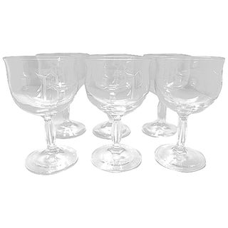 """B"" Monogram Wine Glasses - Set of 6 For Sale"