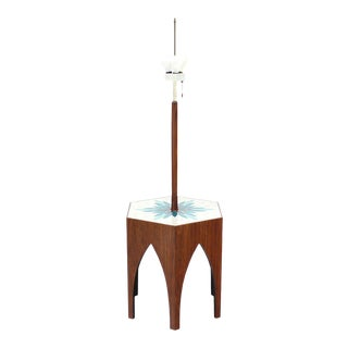 Harvey Probber Tile and Oiled Walnut Floor Lamp Side Table For Sale
