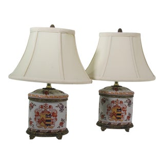 Ceramic Hand Painted Table Lamps - A Pair For Sale