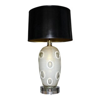 Barovier Murano Cream Gold Dimple Glass Table Lamp For Sale