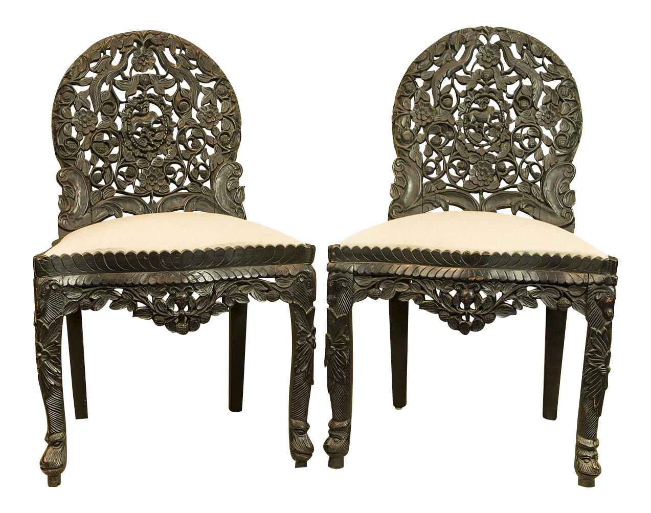 High Quality Circa 1870 Indian Hand Carved Ebonized Chairs   A Pair