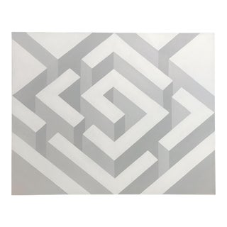 Original Grayscale Hard Edge Geometric Painting by J. Marquis For Sale