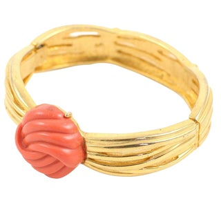 Lanvin Faux Coral and Gold Bracelet For Sale
