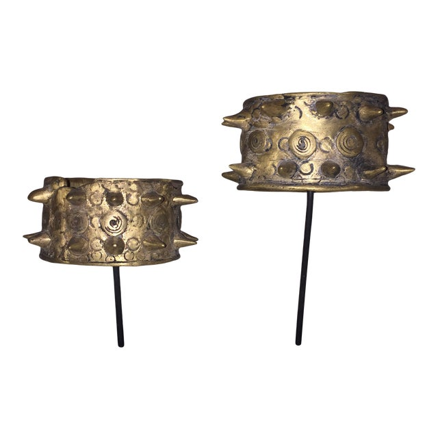 Mounted Brass Spiked Cuffs - a Pair For Sale