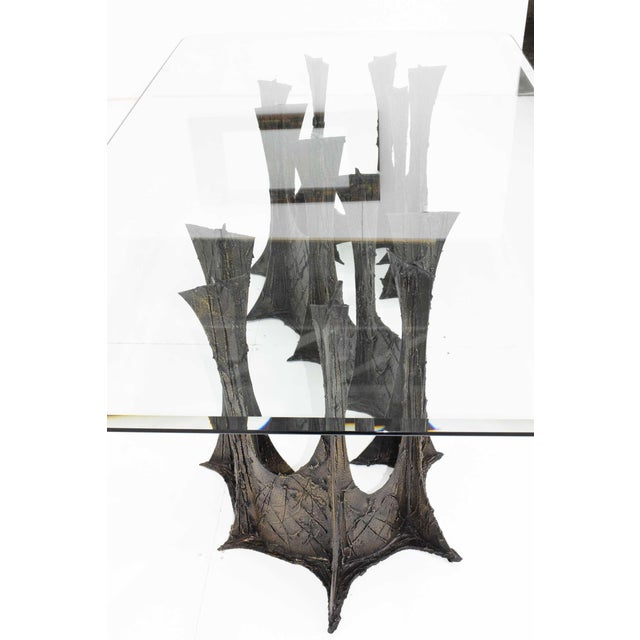 Brutalist Paul Evans Brutalist Stalagmite Bronze and Resin Base Dining Table, 1972, Signed For Sale - Image 3 of 13