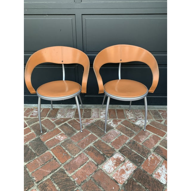 Chestnut Mid Century Italian Leather Chairs - Pair For Sale - Image 8 of 8