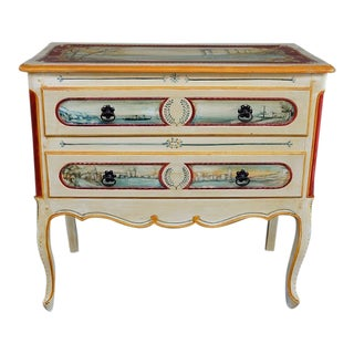 20th Century French Country Chest of Drawers With Handpainted Landscape Scenes For Sale