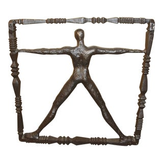 Iron Sculpture Man in Frame For Sale