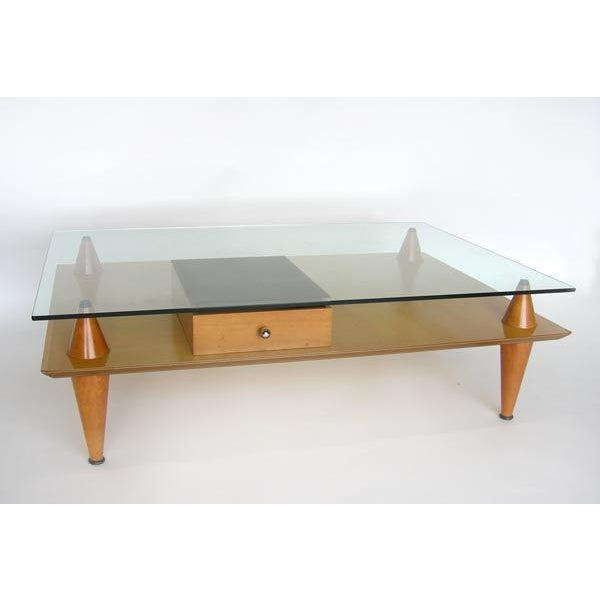 Santa & Cole coffee cocktail table. Glass top. Some wear on the corners, light scratches on the glass. Ca. 1980's