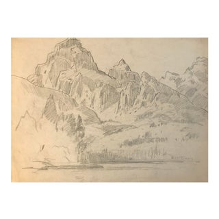 1930s Rocky Mountain Landscape Drawing For Sale