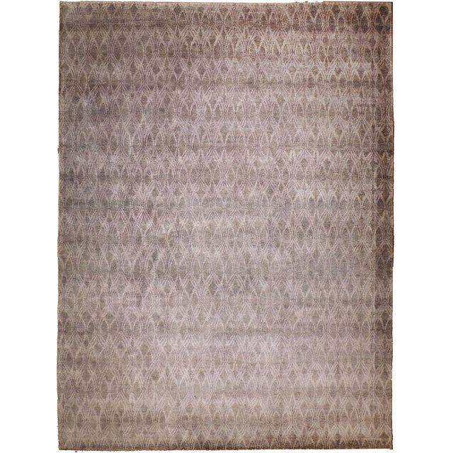 """Modern Hand-Knotted Bamboo Silk Rug - 9'3"""" X 11'6"""" For Sale"""