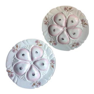 Antique Limoges French Porcelain Oyster Plates - a Pair For Sale