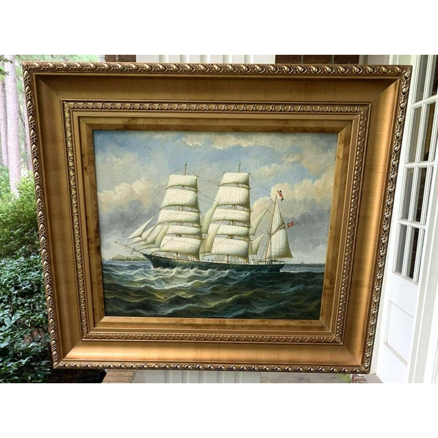 English Oil Painting of British Sailing Ship For Sale - Image 3 of 4
