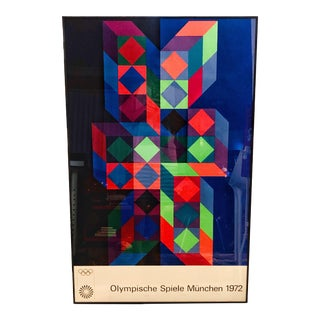 Victor Vasarely Munich 1972 Olympics Lithograph Poster For Sale