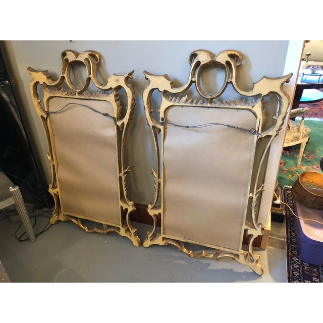 Chippendale Style Mid Century Hand Carved Gilt Italian Rococo Mirrors - a Pair For Sale - Image 9 of 11