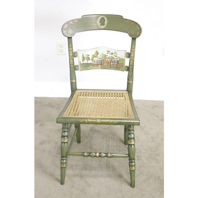 """Traditional Hitchcock Green Painted """"Thomas Jefferson's Monticello"""" Cane Seat Side Chair (B) For Sale - Image 3 of 13"""
