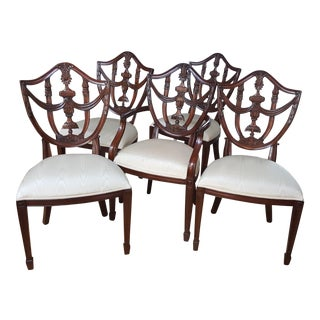 Hepplewhite Maitland Smith Dining Chairs - Set of 5 For Sale