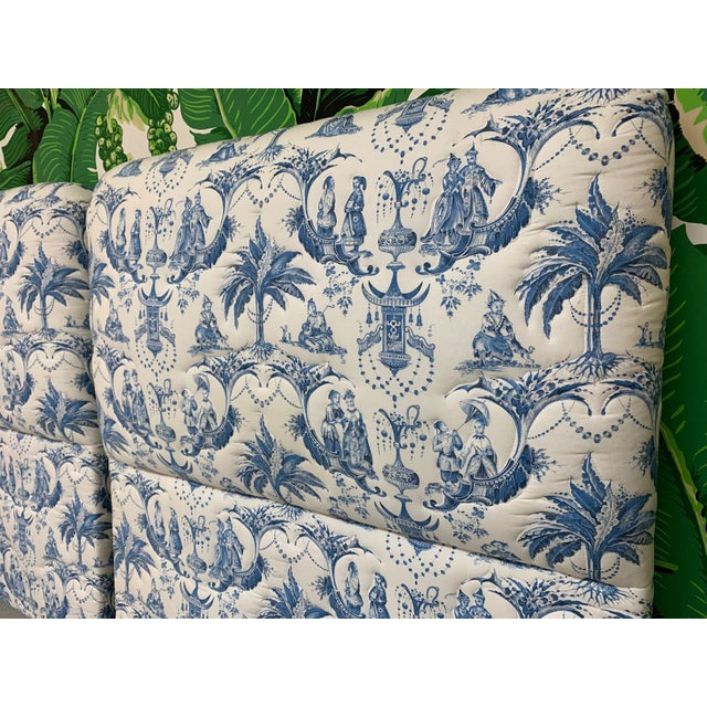 Asian Twin Size Chinoiserie Style Upholstered Headboards For Sale - Image 3 of 7