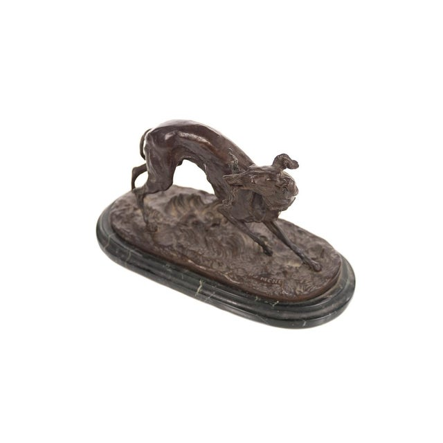 French Bronze Greyhound Whippet Figurine by P.J. Mene For Sale - Image 3 of 10