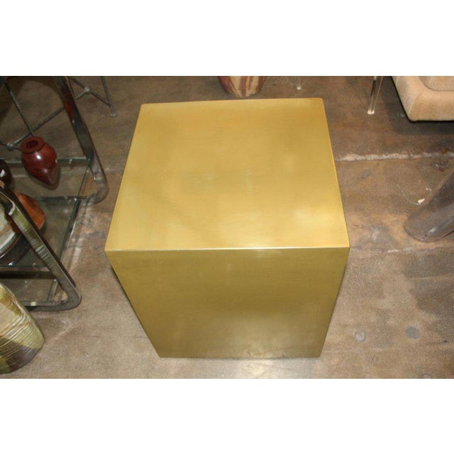 Wood Contemporary Bridges Over Time Originals Brass Coated Cube Table For Sale - Image 7 of 9