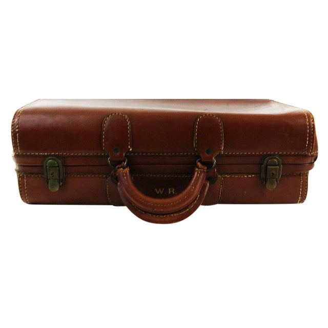 Vintage Brown Leather Suitcase - Image 1 of 6
